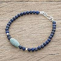 Jade and lapis lazuli beaded pendant bracelet, 'Cool Serenity' - Jade and Lapis Lazuli Beaded Pendant Bracelet from Guatemala