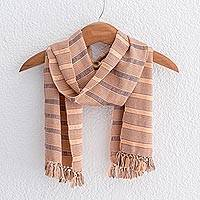 Rayon scarf, 'Sweet Peach' - Peach and Indigo Rayon Wrap Scarf from Guatemala