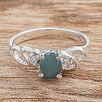 Jade single-stone ring, 'Princess Glitter' - Natural Jade Single-Stone Ring from Guatemala