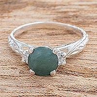 Jade cocktail ring, 'Sparkling Lagoon' - Green Jade and Sterling Silver with Leaf Motif Cocktail Ring