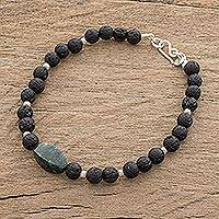 Jade and lava stone beaded pendant bracelet, 'Dark Green Mountain of Lava' - Dark Green Jade and Lava Stone Beaded Pendant Bracelet