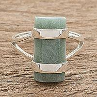 Jade cocktail ring, 'Sweet Maya in Apple Green' - Cylindrical Apple Green Jade Cocktail Ring from Guatemala