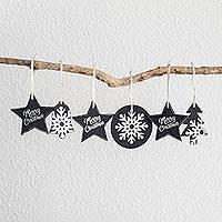 Leather ornaments, 'Christmas in Black and White' (set of 6) - Black and White Leather Christmas Ornaments (Set of 6)