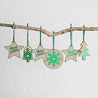 Leather ornaments, 'Christmas in Brown and Green' (set of 6) - Brown and Green Leather Christmas Ornaments (Set of 6)