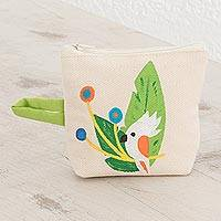 Cotton coin purse, 'Tropical Bird' - Hand-Painted Tropical Bird Cotton Coin Purse