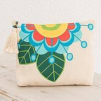 Cotton cosmetic bag, 'Floral Inspiration' - Floral Hand-Painted Cotton Cosmetic Bag from El Salvador