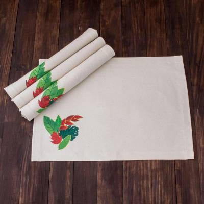 Handpainted cotton placemats, 'Seasonal Leaves' (set of 4) - Leaf Motif Cotton Placemats from El Salvador (Set of 4)