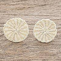 Natural fiber button earrings, 'Circular Sensation in Natural' - Natural Off-White Woven Junco Reed Circular Button Earrings