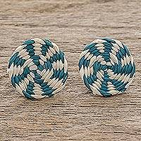 Wood button earrings, 'Lollipop in Turquoise' - Turquoise and Ivory Woven Junco Reed Circle Button Earrings