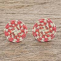 Wood button earrings, 'Lollipop in Coral' - Coral and Off-White Woven Junco Reed Circle Button Earrings