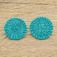 Wood button earrings, 'Circular Sensation in Blue' - Turquoise Handwoven Junco Reed Circular Button Earrings