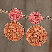 Wood dangle earrings, 'Peaches and Cherries' - Pink and Orange Handwoven Junco Reed Dangle Earrings
