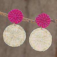 Wood dangle earrings, 'Cherry on Top' - Fuchsia and Off-White Handwoven Junco Reed Dangle Earrings