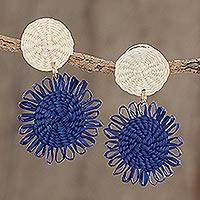 Wood dangle earrings, 'Dandelion Sky' - Blue and Off-White Handwoven Junco Reed Dangle Earrings
