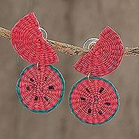 Wood dangle earrings, 'Watermelon Feast' - Watermelon Wedges Handwoven Junco Reed Dangle Earrings