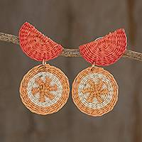 Natural fiber dangle earrings, 'Tangerine Stars' - Star Pattern Natural Fiber Dangle Earrings in Orange