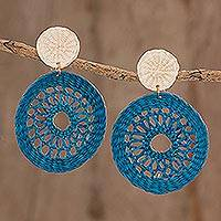 Natural fiber dangle earrings, 'Delightful Nature in Azure' - Handmade Circular Natural Fiber Earrings in Azure