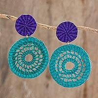 Natural fiber dangle earrings, 'Teal Rings' - Teal and Cobalt Natural Fiber Dangle Earrings from Honduras