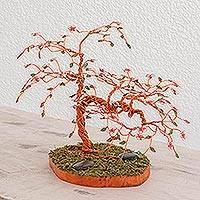 Copper sculpture, 'Colorful Cherry Tree' - Copper Sculpture of a Cherry Tree from Guatemala
