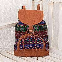 Cotton backpack, 'Colorful Beauty' - Multicolored Handwoven cotton Backpack from Guatemala