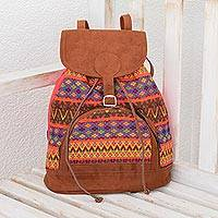 Cotton backpack, 'Colorful Morning' - Colorful Cotton Backpack from Guatemala