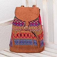 Cotton backpack, 'Magic Garden' - Artisan Crafted Cotton Backpack from Guatemala