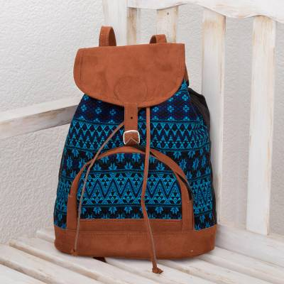 Cotton backpack, 'Night of Stars' - Blue and Black Cotton Backpack from Guatemala