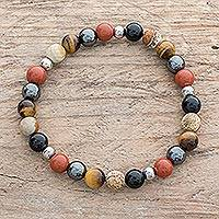 Men's multi-gemstone beaded stretch bracelet, 'Planetary Harmony' - Men's Multi-Gemstone Beaded Stretch Bracelet from Costa Rica