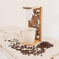 Teakwood single-serve drip coffee stand, 'Toucan Beverage' - Toucan-Themed Teakwood Single-Serve Drip Coffee Stand