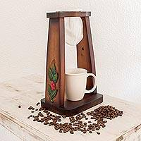 Wood single-serve drip coffee stand, 'Costa Rican Bean' - Handmade Wood Single-Serve Drip Coffee Stand from Costa Rica