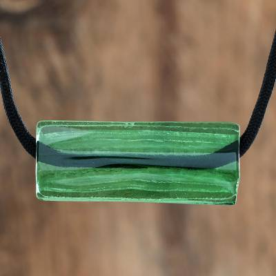 Recycled glass pendant necklace, 'Crystalline Green' - Green Recycled Glass Pendant Necklace from Costa Rica