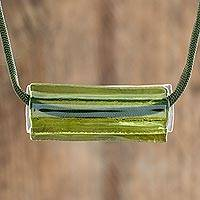 Recycled glass pendant necklace, 'Crystalline Moss Green' - Moss Green Recycled Glass Pendant Necklace from Costa Rica