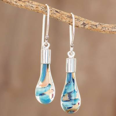 Art glass dangle earrings, 'Rain of Color' - Blue and Pink Art Glass Dangle Earrings from Costa Rica