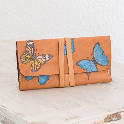 Leather wallet, 'Colors of Liberty' - Hand-Painted Butterfly Motif Leather Wallet from Costa Rica