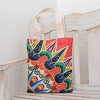 Cotton tote, 'Lively Coast' - Colorful Printed Cotton Tote from Costa Rica