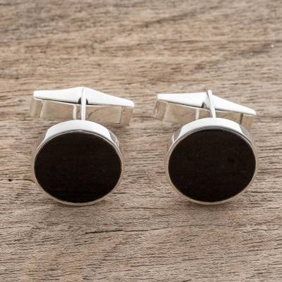 Jade cufflinks, 'Eclipse of the Moon' - Modern Black Guatemalan Jade and Silver 925 Cufflinks