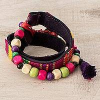 Wood and cotton beaded wrap bracelet, 'Carnival of Atitlan' - Wood and Cotton Beaded Wrap Bracelet from Guatemala