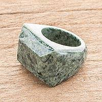 Jade signet ring, 'Green Steppe' - Pyramid-Shaped Jade Signet Ring from Guatemala