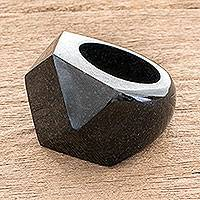 Jade signet ring, 'Gleaming Facets' - Faceted Dark Green Jade Signet Ring from Guatemala
