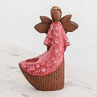 Ceramic tealight candleholder, 'Red Angel of Light' - Ceramic Angel Tealight Candleholder from El Salvador