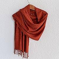 Rayon shawl, 'Airy Breeze in Russet' - Russet Handwoven Airy Openwork Squares Rayon Shawl