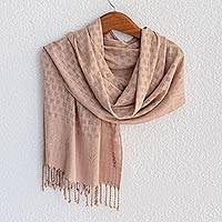 Rayon shawl, 'Airy Breeze in Light Brown' - Light Brown Handwoven Airy Openwork Squares Rayon Shawl