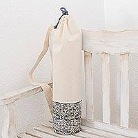 Cotton yoga bag, 'Abstract Motif' - Abstract Motif Cotton Yoga Bag in Slate and Ivory