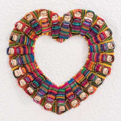 Cotton wreath, 'Quitapena Love' - Heart-Shaped Cotton Worry Doll Wreath from Guatemala
