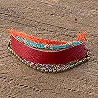 Glass beaded leather wristband bracelet, 'Crimson Combination' - Glass Beaded Crimson Leather Wristband Bracelet