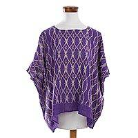 Cotton caftan, 'Blue-Violet River' - Handwoven Cotton Caftan in Blue-Violet from Guatemala