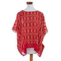 Cotton caftan, 'Crimson River' - Handwoven Cotton Caftan in Crimson from Guatemala