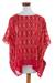Cotton caftan, 'Crimson River' - Handwoven Cotton Caftan in Crimson from Guatemala thumbail