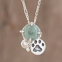Jade pendant necklace, 'Animal Lover in Apple Green' - Animal-Themed Jade Pendant Necklace in Apple Green