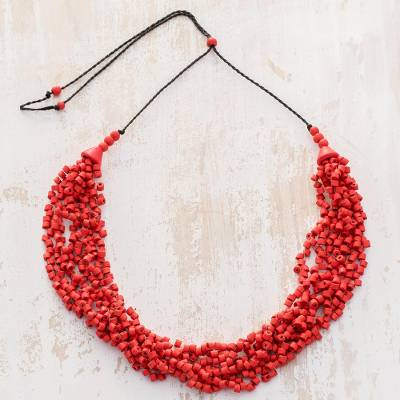 Ceramic beaded torsade necklace, 'Bundled Joy in Red' - Red Ceramic Beaded Pendant on Black Adjustable Cord Necklace